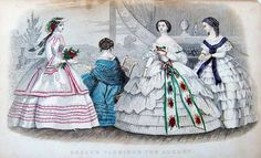 1860 Godeys fashion plate, August.  Note: new link takes you to archive.org, to the page of the original Godeys description of this plate.