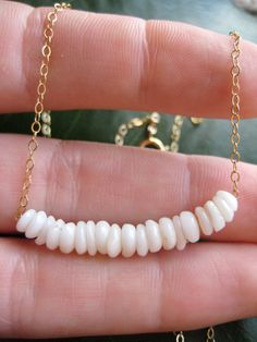Puka Shell Necklace, Gold Chain