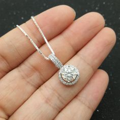 Custom made 1ct Brilliant Moissanite Pendant White by popRing