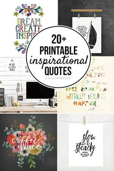 Inspiration quote printables - Surround yourself with words of motivation and inspiration! Here are 20 FREE Printable I. Inspirational Quotes For Kids, Motivational Words, Inspirational Message, Free Printable Quotes, Printable Designs, Free Printables, Decoupage Printables, Floral Quotes, Gratitude Quotes