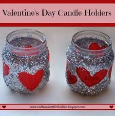 Glittery Upcycled Baby Food Jar Candle Holders - fun craft idea for Valentine's Day suitable for preschoolers and older! Valentine Crafts For Kids, Valentines Day Activities, Valentines Day Decorations, Love Valentines, Baby Jars, Baby Food Jars, Baby Food Jar Crafts, Mason Jar Crafts, Valentine's Day Diy