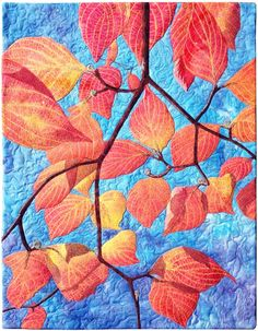 """""""October Morning"""" by Susan Brubaker Knapp 15.5"""" x 20"""" (copyright 2014) Original design. Cotton batik and hand-dyed fabrics, fusible adhesive, cotton threads, ink, wool/polyester batting. Free-motion machine thread sketched and quilted. #SusanBrubakerKnapp #dogwood #October"""