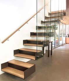 DIY Staircase Design Ideas - - 4 Times The Stair Decoration Would Make You Feel Amazed - Trend Crafts. Glass Stairs, Metal Stairs, Concrete Stairs, Modern Stairs, Floating Stairs, Glass Railing, Cantilever Stairs, Staircase Handrail, Stair Railing