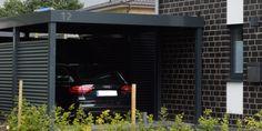 Mit viel Liebe zum Detail. Metallcarport komplett in RAL 7016 mit ausgelaserter Hausnummer und Beleuchtung.  Metallcarport für zwei Stellplätze.   #Stahlcarports #Metallcarports #exterior #exteriordesign  #carport