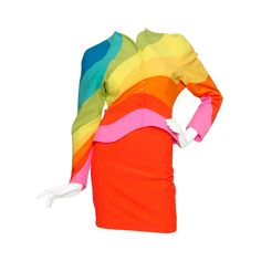 Iconic S/S 1990 Thierry Mugler Rainbow Wool Skirt Suit | From a collection of rare vintage suits, outfits and ensembles at https://www.1stdibs.com/fashion/clothing/suits-outfits-ensembles/