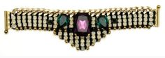 """AKONG LONDON WHITE OPAL EMBELLISHED DECO BRACELET GRAPHIC DECO EMBELLISHED BRACELET 24kt Gold Plated brass 7"""" length  Material : brass components , Swarovski crystals , black spinel  Made in UK Retails for over $780 Comes with original Akong box"""