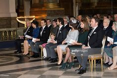 Sweden's King Carl XVI Gustaf of Sweden, Queen Silvia of Sweden, Prince Daniel, Princess Estelle, Prince Carl Philip, Princess Sofia, Princess Madeleine and Christopher O'Neill attend a thanksgiving service for the newborn prince in the palace church at Stockholm Royal Palace on March 3, 2016 in Stockholm, Sweden. The newest addition to the royal family, and third in line to the crown, has been named Prince Oscar Carl Olof.
