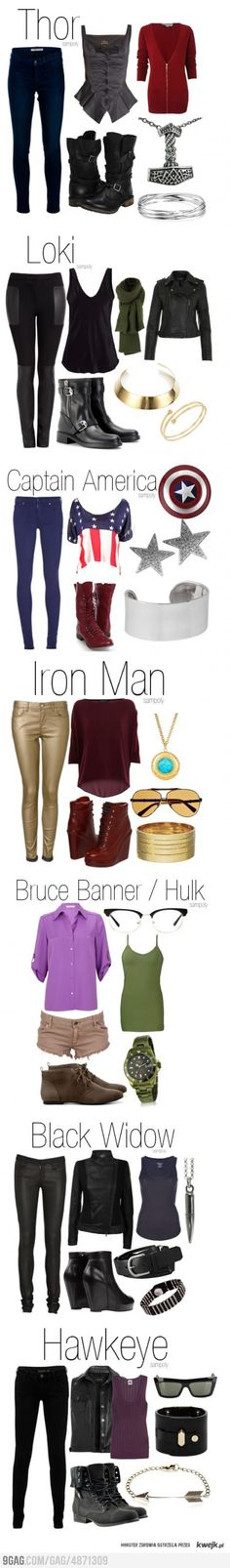 Avengers fashion. You know what would be 'super' awesome? If I were a size 2 to look cute in this stuff.