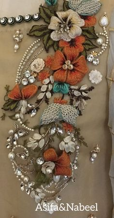 Tulle hand-embroidered using velvet and satin applique work in glorious summer colors Zardozi Embroidery, Hand Embroidery Dress, Bead Embroidery Patterns, Embroidery On Clothes, Couture Embroidery, Bead Embroidery Jewelry, Silk Ribbon Embroidery, Crewel Embroidery, Hand Embroidery Designs
