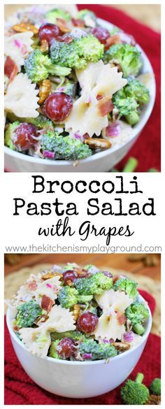 Broccoli Pasta Salad with Grapes ~ all the flavors of traditional broccoli salad with a hearty dose of pasta. www.thekitchenismyplayground.com