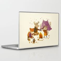 Critters:Fall Camping illustrated lap top skin is a fun and cheerful decor addition to your computer or iphone. By Teagan White