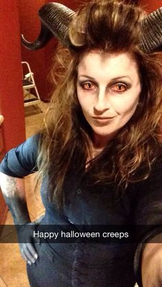 My demon makeup! #demon #contacts #horns #scary #creepy #cateyes #devil #shedevil