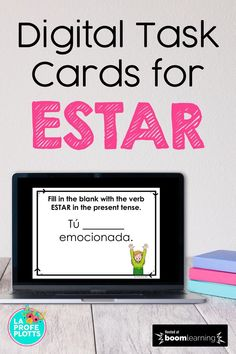 50 interactive digital task cards to help your Spanish students understand the verb ESTAR better while learning remotely! These Boom Cards include filling in the blank with the correct form of ESTAR, finding the error in a sentence and then writing the correct word below, multiple choice questions where students must choose the correct translation, and more! Perfect for a well-rounded review! #distancelearning