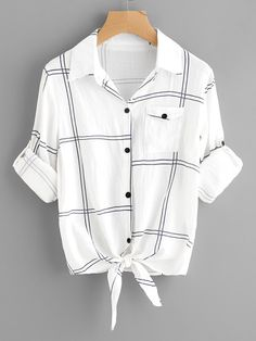 To find out about the Plus Plaid Knot Hem Blouse at SHEIN, part of our latest Plus Size Blouses ready to shop online today! Shirts & Tops, Casual T Shirts, Shirt Blouses, Women's Tops, Girls Fashion Clothes, Teen Fashion Outfits, Casual Outfits, Clothes For Women, Trendy Clothing