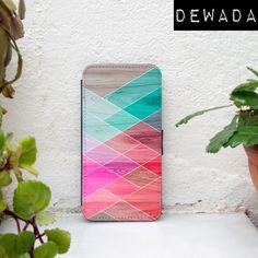 iPhone 6 case wallet geometric blue teal pink wood print by DeWadaSTORE
