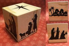 Nativity scene on a block. {LOVE} this!!