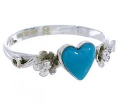 Authentic Sterling Silver Turquoise Flower Heart Ring Size 8-1/4 UX34897