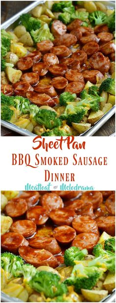 Sheet Pan BBQ Smoked Sausage Dinner with Broccoli and Potatoes is made with kielbasa slices drenched in tangy barbecue sauce and baked on one sheet pan in just 20 minutes. It's a quick and easy dinner even your pickiest eaters will love!