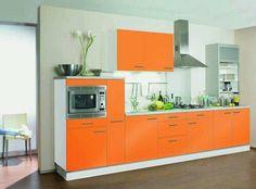 Orange Kitchen, Decoration, Orange Color, Kitchen Design, Kitchen Cabinets, House, Kitchens, Palette, Peach
