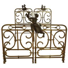 19th Century Pair of Brass Beds | From a unique collection of antique and modern beds at https://www.1stdibs.com/furniture/more-furniture-collectibles/beds/