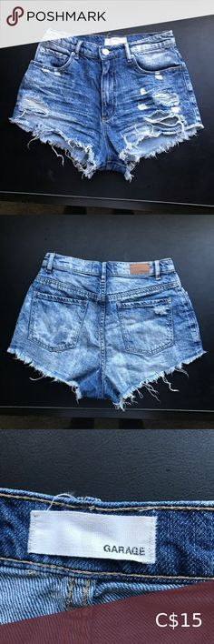 """Garage distressed high waisted shorts Gently worn. They are not super stretchy.   Size comparison:  I have a 25.5"""" waist, 36.5"""" hips and 5'8"""" height. These fit me comfortable around the waist, but I find they show a bit too much bum for me now.  Say size 1, but I find they fit me similar to size 3 for their other styles.   Material:  100% cotton Garage Shorts High Waist"""