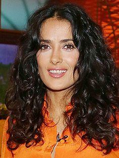 Salma Hayek's natural thick curls