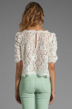 Shop for Joie Fanny Lace Top in Porcelain at REVOLVE. Gandhi, Girl Fashion, Fashion Design, Blouses For Women, Porcelain, Prom Dresses, Outfits, Sewing, My Style