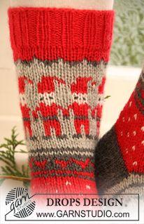 """Strikkede DROPS sokker med mønster til jul i """"Karisma"""". Str 32-43. ~ DROPS Design"""