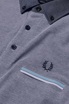 Fred Perry - Oxford Collar Pique Shirt Dark Carbon Oxford