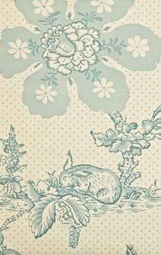 Toile de Lapins Wallpaper Traditional French cream floral wallpaper integrating rabbit design In pale green/blue with subtle mute yellow dot.