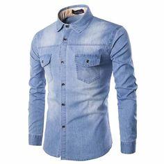 Plus Size 6XL Cowboy Fit Long Sleeve Cotton 100% Mens Work Shirts Denim Jeans #Mensshirtsdenimjeans #BaggyLoose