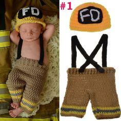 Firefighter Fireman Designs Crochet Knitted Suspender & Baby Hat