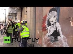 Bansky's latest refugee-themed street artwork 'Les Miserables' was ordered to be covered after police intervention just hours after it was revealed, on a wal. London Police, Bansky, Les Miserables, Cover, Artwork, Anime, Fictional Characters, Kunst, Work Of Art