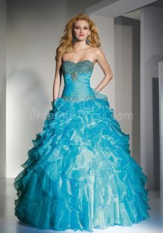 Organza Ball Gown Beaded Sweetheart Natural Waist Quinceanera Dresses with Cascading Ruffles