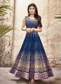 Enticing Blue Embroidered Anarkali Salwar Kameez