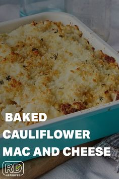 Cauliflower Mac And Cheese, Creamy Cauliflower, Cauliflower Recipes, Creamy Pasta Bake, Healthy Foods, Healthy Recipes, Cheese Ingredients, Whole Wheat Pasta, Best Vegetarian Recipes