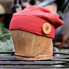 Burnt orange silk and merino wool slouchy beanie plus by UpthePitt