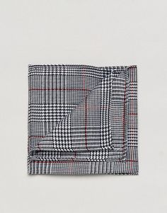 ASOS Prince Of Wales Red Overcheck Pocket Square - Black