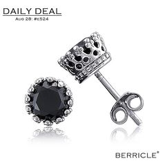 * Daily Deal * Today: $14.50 (Regular: $28.99)  50% OFF, Aug 28, 2013 only  Sterling Silver Filigree Black Round Cubic Zirconia CZ Stud Earrings