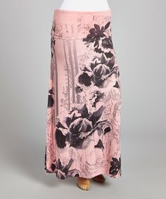 Another great find on #zulily! Pink & Black Floral Maxi Skirt - Plus by Poliana Plus #zulilyfinds