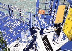 "nevver: ""Light falls of board walk, Eizin Suzuki "" Comics Illustration, Japanese Illustration, Illustrations, Graphic Illustration, Beauty Illustration, Bg Design, Ligne Claire, Naive Art, Grafik Design"