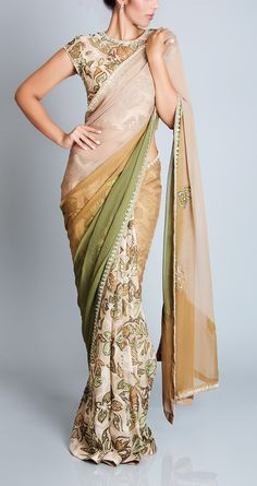 Nice Colour Combo Half and Half Saree