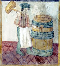September - The cooper finishing a wine barrel Frescoes with the labors of the months Santa Maria del Castello Mesocco, Ticino, Suisse Original photo by courtesy of Renzo Dionigi, color-modified by p.a.