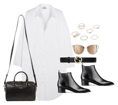 """""""Untitled #3920"""" by magsmccray ❤ liked on Polyvore featuring Acne Studios, Gucci, Yves Saint Laurent and MANGO"""