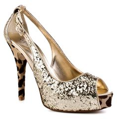 Perfect your party look in these sleek heels from Guess. Hondo is an open toe pump in gold glitter featuring a 4 3/4 inch leopard print heel and a daring 1 inch covered platform. Slingback-like straps connecting the toe to the heel give this party pump a smoldering-hot edge. #shoes #footwear #glitter #fashion #heels
