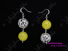 Silver Buckyball Yellow Glass Bead Earrings 925 by YanYanWorkshop