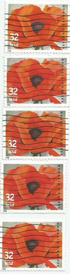 5 Georgia O'Keeffe Red Poppy Stamps
