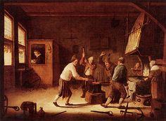 Blacksmith at work, around 1700.
