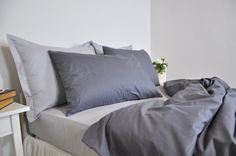 Dark Grey Duvet Cover Set Full Queen King & Light by RoseHomeDecor