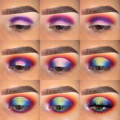 ✔ Makeup Tutorial Step By Step Drag Makeup Eye Looks, Dramatic Eye Makeup, Eye Makeup Steps, Colorful Eye Makeup, Colorful Eyeshadow, Best Eyeshadow, Eyeshadow Looks, Eyeshadow Makeup, Eyeliner